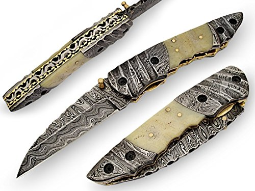 AishaTech Thracian Premium Quality Hand Crafted Pocket Knife Damascus steel Blade and Bolsters Bone handle