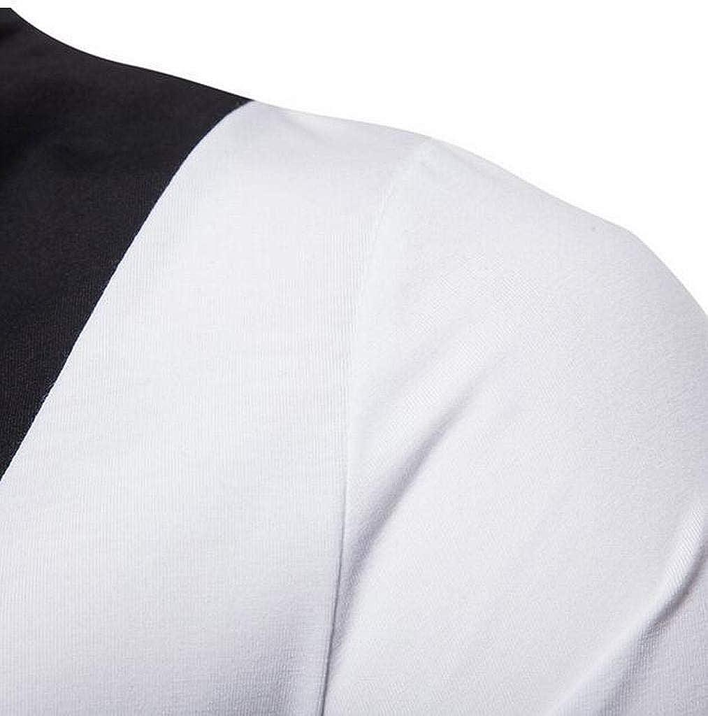 Jotebriyo Mens Stitching Turtle Neck Fall Winter Long Sleeve T-Shirt Tee Top