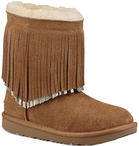 UGG Little Kids Classic Short II Fringe Boot Chestnut Size 12 Little Kid M (Size Ugg Kids 12)