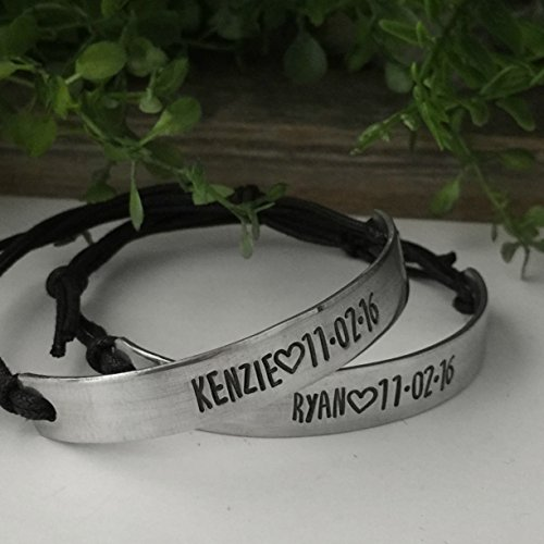 Custom Bracelets set of two for Couples - Personalized Names and Date