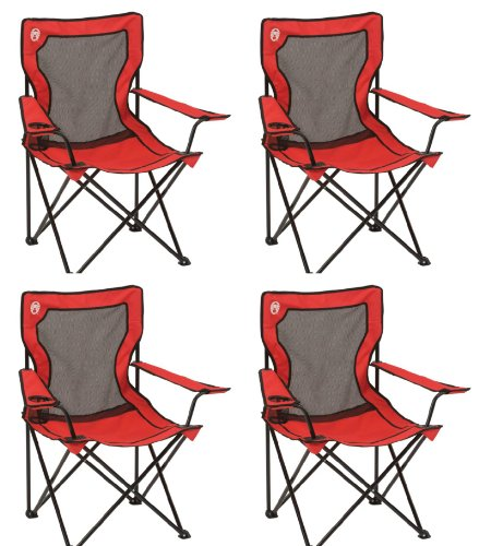 (4) COLEMAN Broadband Camping Folding Quad Chairs w/ Mesh Back & Transport Bag