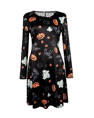 DIOSA Halloween Dress Halloween Party Dress Womens Printed Long Sleeve Flared Dress Halloween Swing Dress-Pattern pattern, XL (US 10-12)