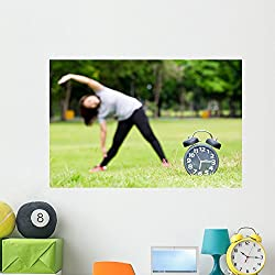 Morning Exercise and Black Wall Mural by Wallmonkeys Peel and Stick Graphic (48 in W x 32 in H) WM365398