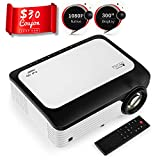 Portable Mini Movie Projector,BRILENS Native 1080P 4500 Lux Full HD Video Projector with TV Stick, PS4, Laptop ,PC ,HDMI, VGA, AV ,USBwith 300'' Projector Screen Support 4K and Zoom Compatible