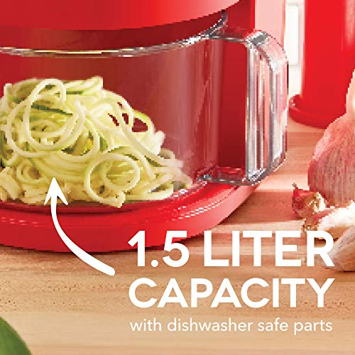 Dash D7FP300RMRD 7 in 1 Food Processor Prep Master Vegetable Chopper, Spiralizer, Slicer Shredder + Dicer with Stainless Steel Blades for Onions, Tomatoes, Carrots, Zoodles & More, 1.5 L