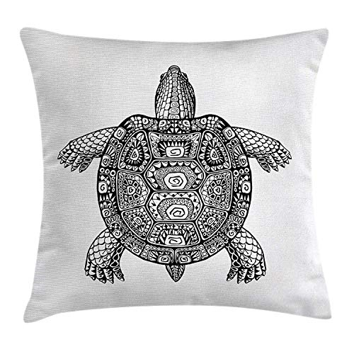 Riolaops Turtle Throw Pillow Cushion Cover, Tribal Patterns on Turtle Illustration Monochrome Animal Themed Tortoise Print, Decorative Square Accent Pillow Case, 16 X 16 Inches, Black and White