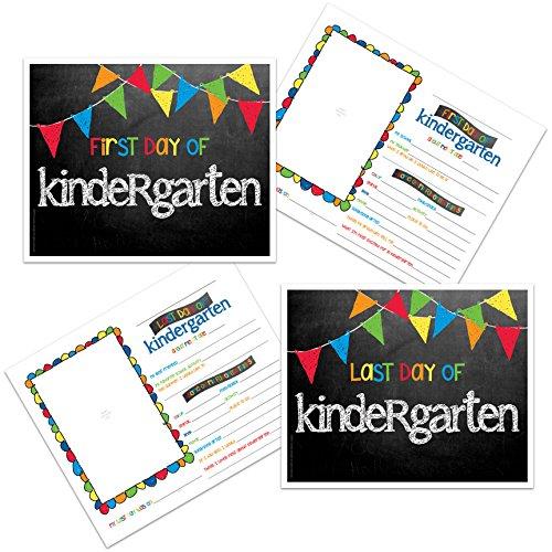 Kindergarten First & Last Day of School Photo Prop Sign - Primary Pennant Flags Chalkboard Design -