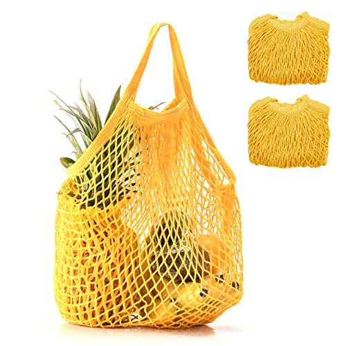 (Coofig 2 PCS Eco-Friendly Cotton Net Shopping Bag Reusable Mesh Tote Handbag with Short Handles Portable String Bag Organizer for Shopping/Outdoor Packing/Beach Toys/Fruit/Vegetable(Yellow s))