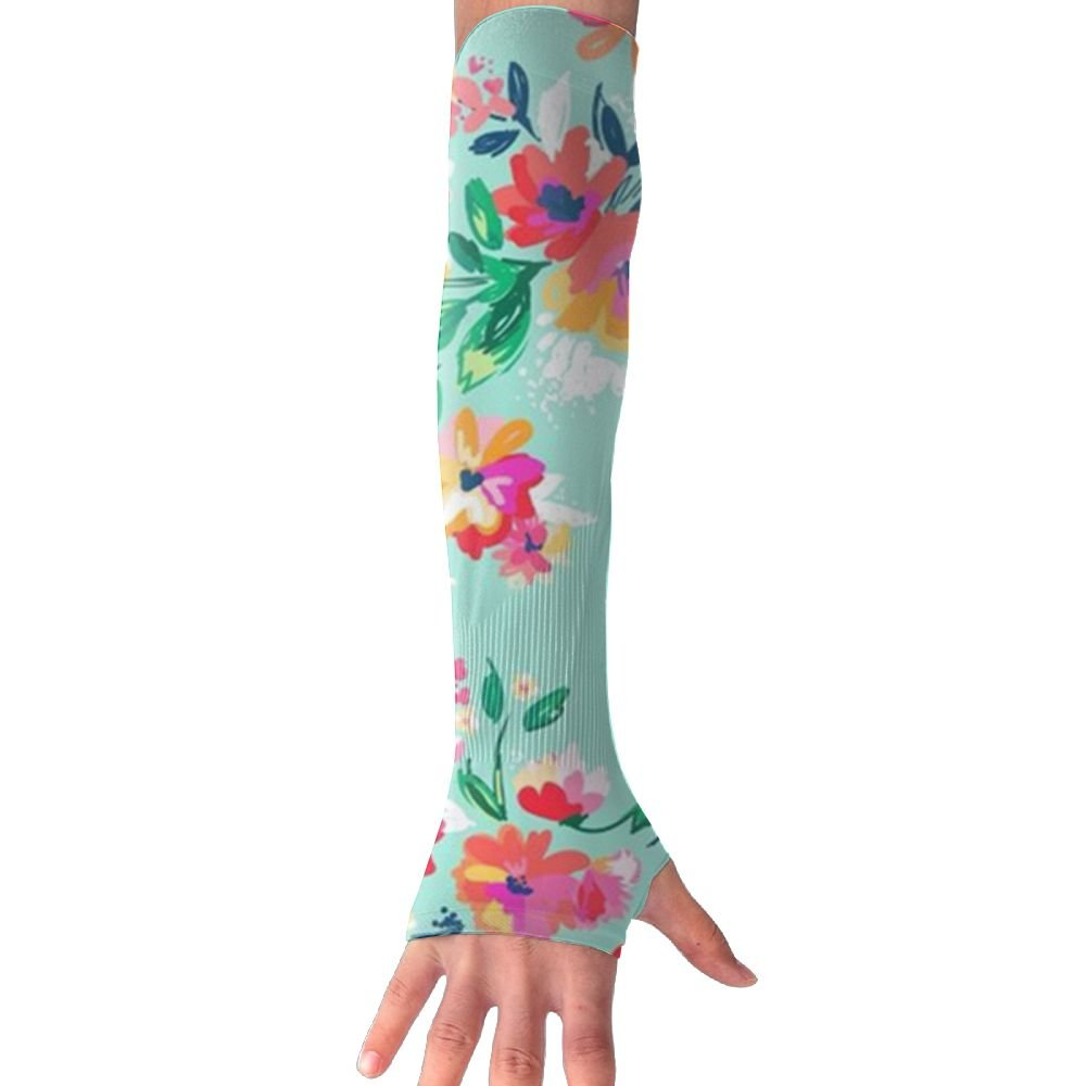 Huadduo Bright Floral Blooms On Beach Glass Aqua Women's Super Long Fingerless Anti-uv Sun Protection Golf Driving Sports Arm Sun Sleeves Gloves