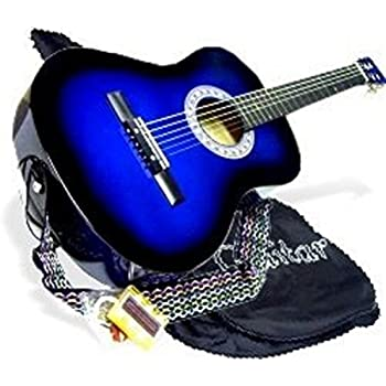 "38"" BLUE Acoustic Guitar Starter Beginner Package, Guitar, Gig Bag, Extra String & DirectlyCheap(TM) Translucent Medium Guitar Pick (BU-AG38)"