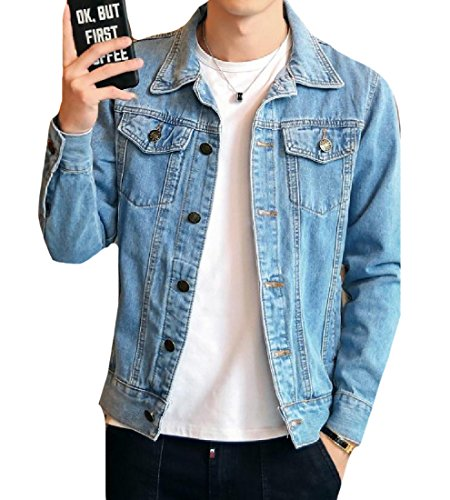 Comfy-Men Utility Motorcycle Slim Casual Button Down Denim Jacket Light Blue S ()