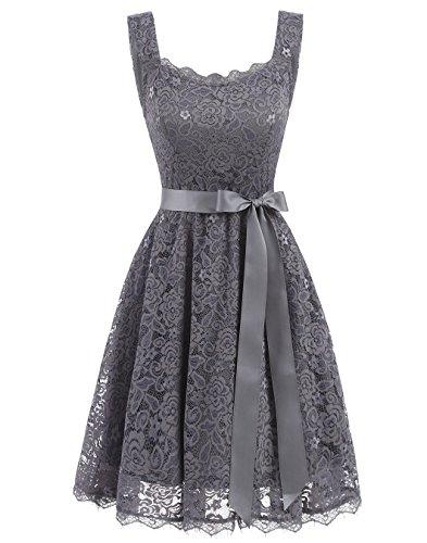 (BeryLove Women's Floral Lace Bridesmaid Dress Short Prom Cocktail Party Dress BLP7014GreyL)