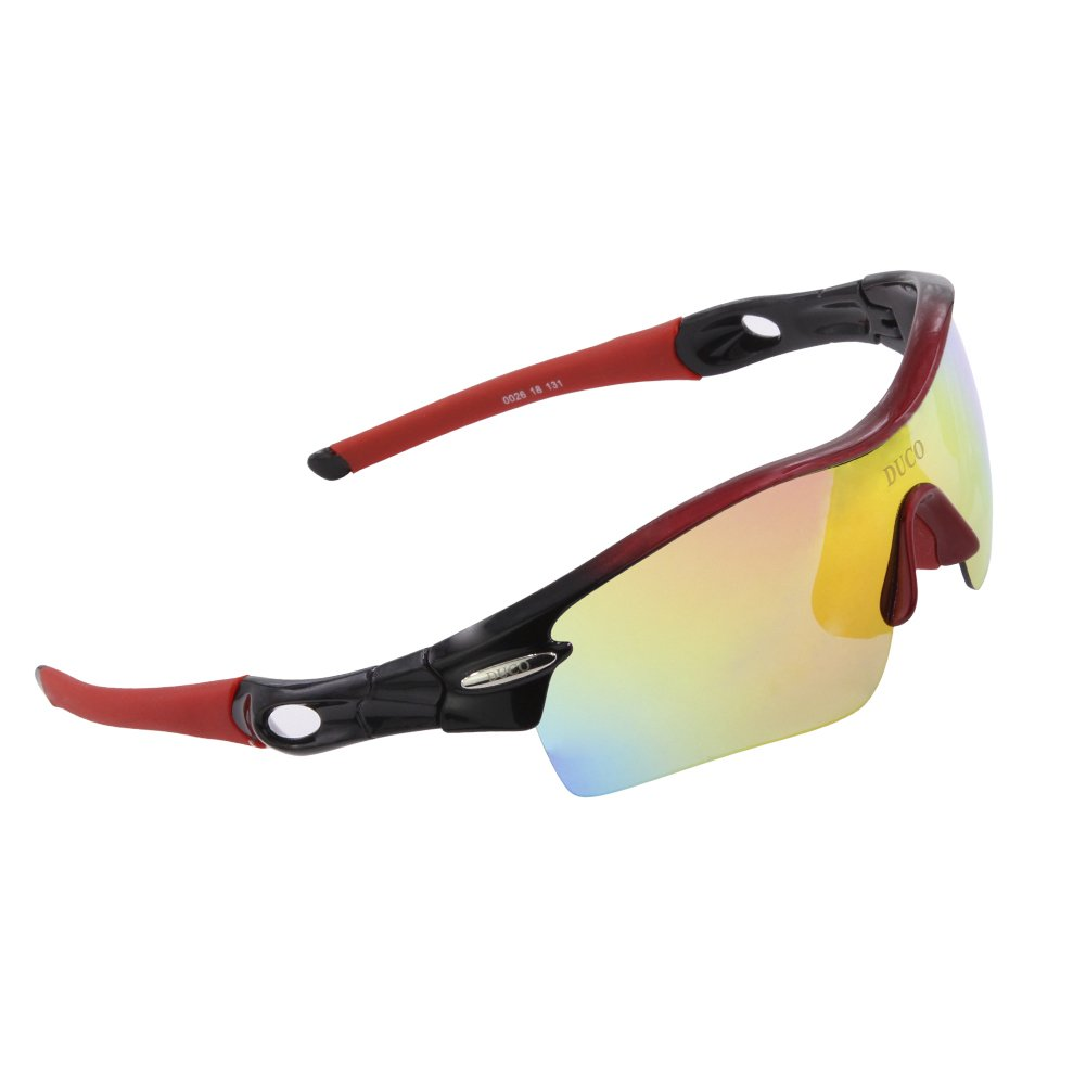 DUCO Polarized Sports Sunglasses with 5 Interchangeable Lenses UV400 Protection Sports Sunglasses for Cycling Running Glasses 0026 DC-0026-03-UK