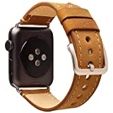 Electronics : For Apple Watch Band 42mm Mkeke Genuine Leather iWatch Bands Vintage Brown