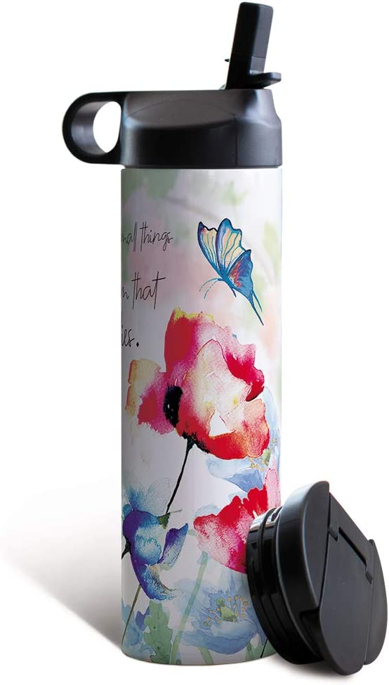 Tree-Free Greetings Travel Coffee Tumbler, 17 Oz Stainless Steel Vacuum Insulated Mug with Hot and Cold Lid, Eco-Friendly Barista for Caregivers, Small Things (SB53628)