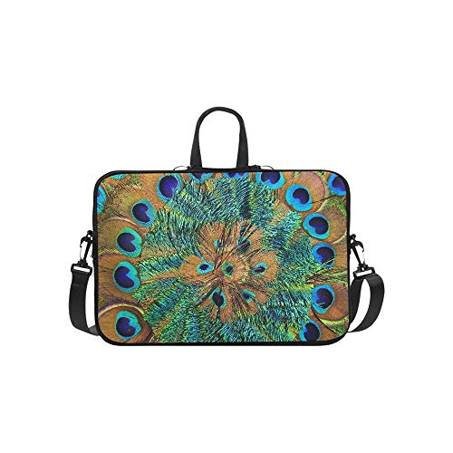 Circular Side Zipper - Close Up of Circular Peacock Feather Pattern Briefcase Laptop Bag Messenger Shoulder Work Bag Crossbody Handbag for Business Travelling