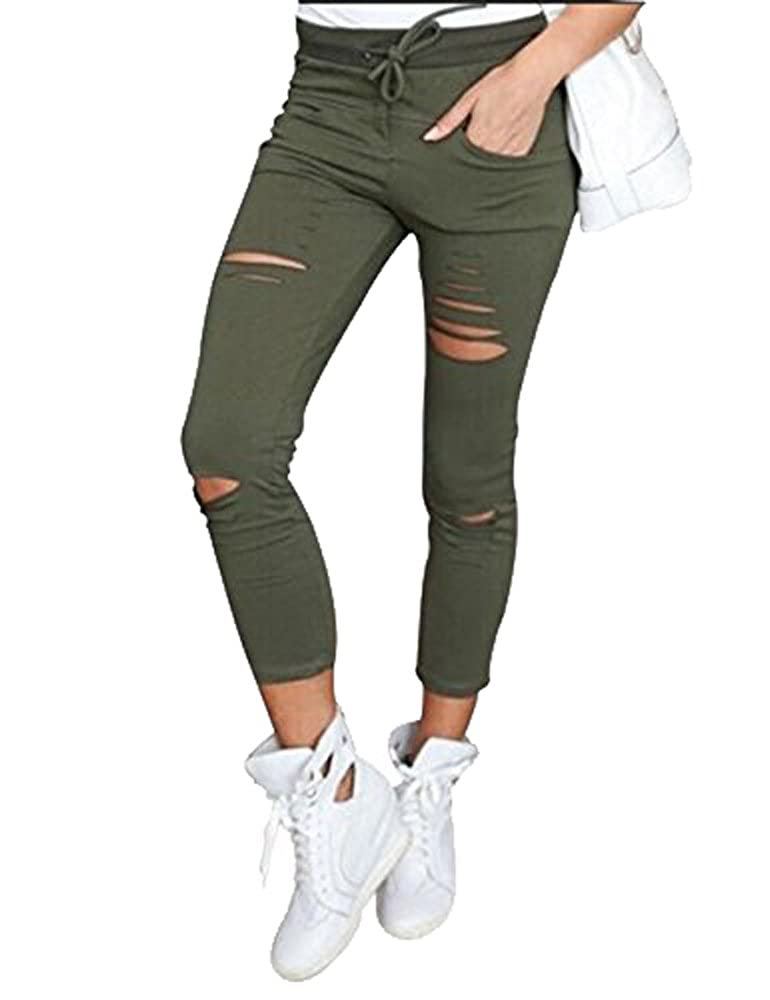 DODOING Damen Jeanshose Zerrissen Ripped Hose mit Hohe Taille Stretch Skinny Slim Bleistifthose Leggings C2080-CN-DEAC