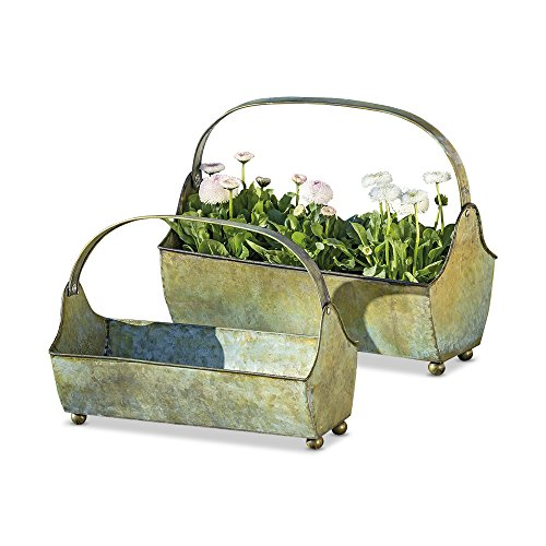 WHW Whole House Worlds Farmer's Market Galvanized Metal Basket Tray Planters, Set of 2 for Container Gardens, Rustic Patina, Gray, Ball Feet, 13 ½ L x 6 ¾ W x 7 ½ H and 11 3/4 L x 5 W x 6 H Inches