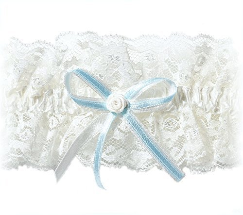 XXL 3XL 4XL Hint of Blue Bridal Wedding Lace Garter in PLUS SIZE, Elastic - Something Blue under Wedding Dress - Extra Wide Size for the Curvy Bride - IVORY