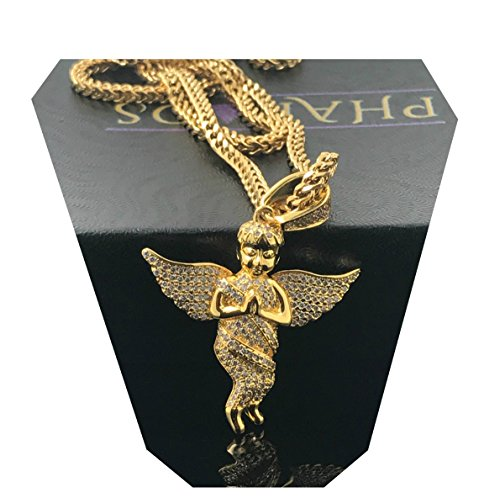 Gold Chain Necklace Diamond Guardian Angel Pendant 18 Karat Real Gold filled/Hand Set Lab Simulated Diamonds, US Product. - Gold Filled Angel Pendant