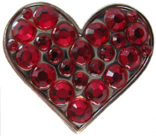 Heart Shaped Clip (Swarovski Red Shaped Heart Golf Ball Marker and Matching Hat Clip)
