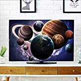 Leighhome tv Protective Cover Solar System Planets All Together in Mercury Jupiter Globe Saturn Universe tv Protective Cover W19 x H30 INCH/TV 32''
