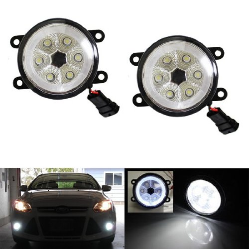 iJDMTOY (2) 18W High Power 6-LED Fog Light Lamps w/LED Halo Rings For Ford C-Max Explorer Fiesta Fusion Mustang Taurus Lincoln LS Navigator Nissan Sentra SE-R Subaru Legacy Outback, Xenon White