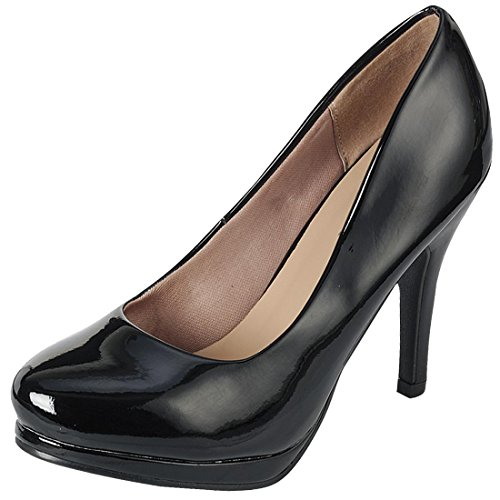 Cambridge Select Women's Classic Closed Toe Platform High Heel Pump (6 B(M) US, Black Patent) 1/2 Inch Sexy Black Pump