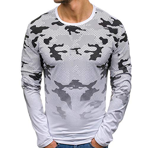 Men Autumn Casual Printed Plaid Blouse O-Neck Long Sleeve Sweatshirt Tops Shirt