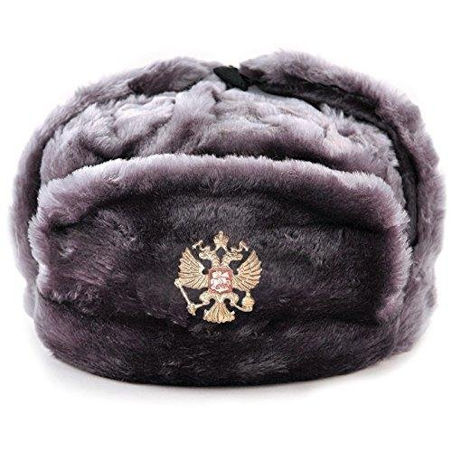 Amazon.com  Gray Russian Ushanka Hat with Ear Flaps. Size 60 L  Clothing 763b15a839b