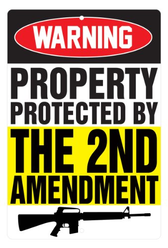 JustSayinIt Protected by 2nd Amendment - Aluminum Sign - 8 x 12 in.