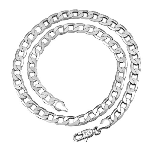 Kangqifen Jewelry Men Women Necklace 925 Silver Plated Figaro Chain 16