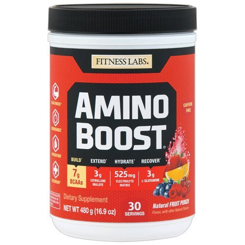 Fitness Labs AminoBoost® Fermented BCAA Powder Drink - 7g BCAAs, 3g Citrulline Malate, 3g L-Glutamine plus Electrolytes - Build Muscle, Endurance, Hydration, Recovery* (30 Servings, Fruit Punch)