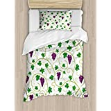 Vine Twin Size Duvet Cover Set by Lunarable, Green Leaves Swirls Grapes Country Life Style Eating Fr