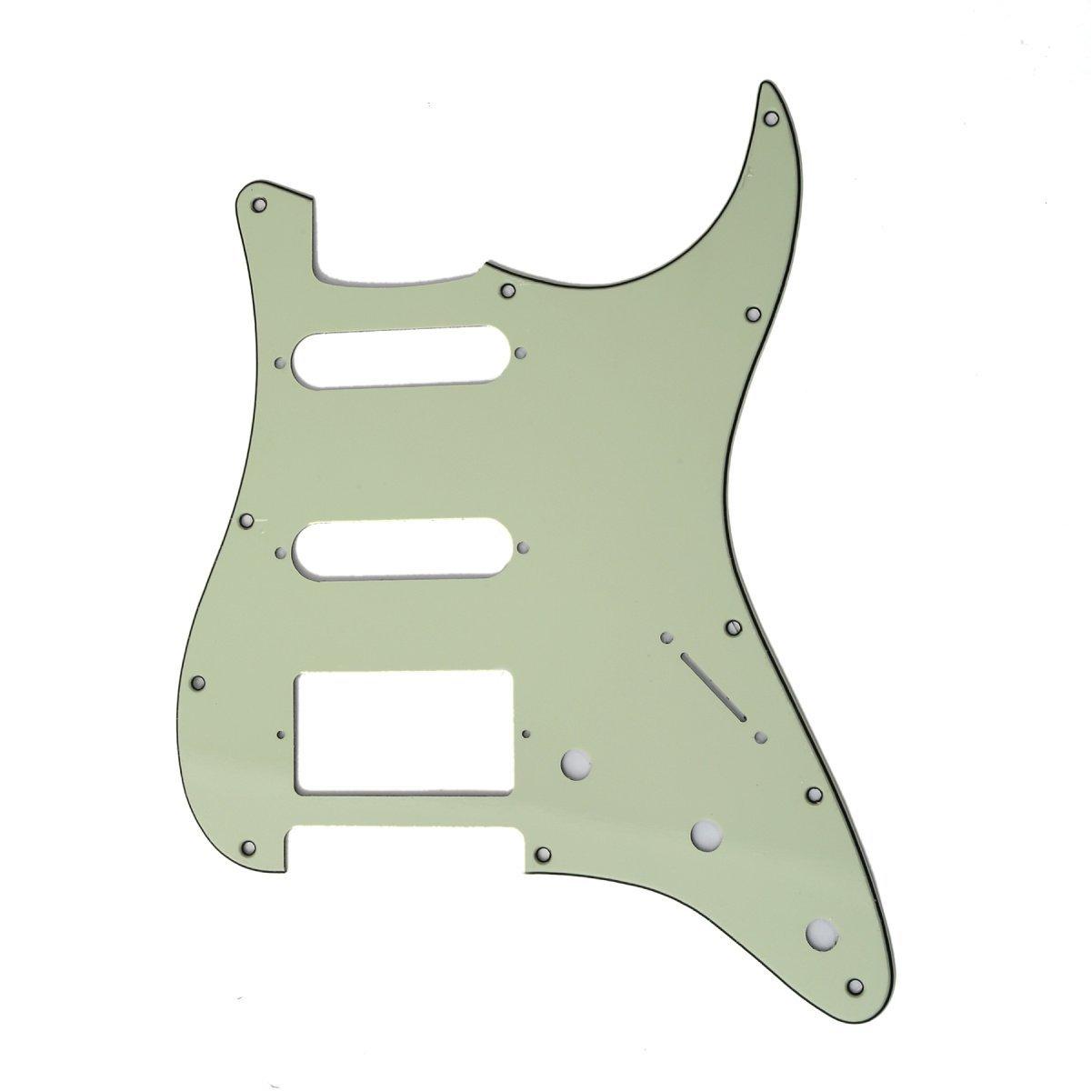 Musiclily SSH 11 Fori Strat Battipenna Chitarra Pickguard per Fender USA//Messico Stratocaster Standard Stile Moderno,4 strati Blue Pearl