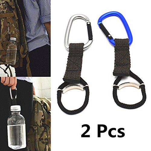 EPSVCSEWN Water Bottle Holder Buckle Hook with Carabiner Clip for Outdoor Camping Hiking Traveling Accessories (2 Pcs)
