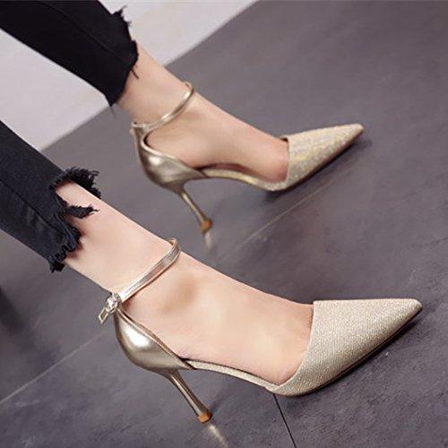 FLYRCX Las señoras sandalias brillante en primavera y otoño temporada tacones finos y altos tacones Golden