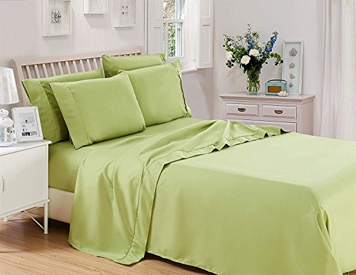 6 Piece Lux Decor Bed Sheets Set,Hotel Quality Brushed Velvety Microfiber Flat Sheet + Fitted Sheet + 4 Pillow Cases, Wrinkle, Fade & Stain Resistant (Queen, Green Sage)