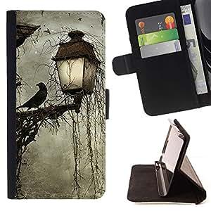 """Lámpara Crow Somber Spooky Noche"""" Colorida Impresión Funda Cuero Monedero Caja Bolsa Cubierta Caja Piel Id Credit Card Slots Para HTC Desire 820"""