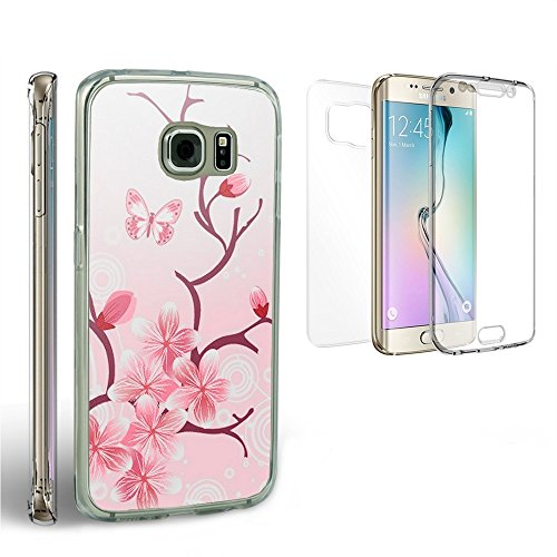 Galaxy S6 Edge Plus Clear Case, Beyond Cell®Tri Max®Ultra Slim 360°Protection[Shock Absorbing][Full Body]Crystal Clear Flexible Gel Case(1 pc Front, 2 back pcs)-Bundle Pack-Pink Cherry Blossom