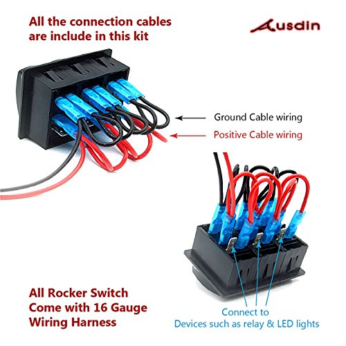 Rocker-Switch-Ausdin-Rocker-Switch-Professional-Design-For-Led-Light-Bar-14AWG-Wiring-Harness-Kit-Pre-Wired-Rocker-Switch-Holder-Waterproof-Marine-Toggle-Switch-Easy-Installation