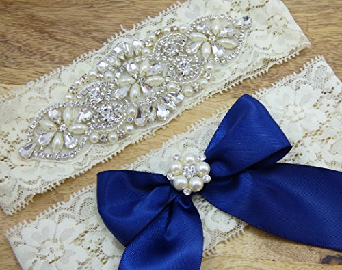 Grace Ivory Lace Rhinestone Bridal Garter, Something Blue, Wedding Garter Set