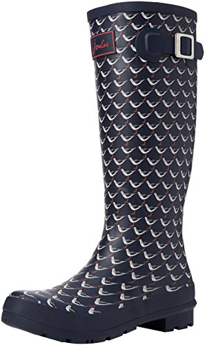 Joules Women's Welly Print Rain Boot, French Navy Oyster Catcher, 8 M US