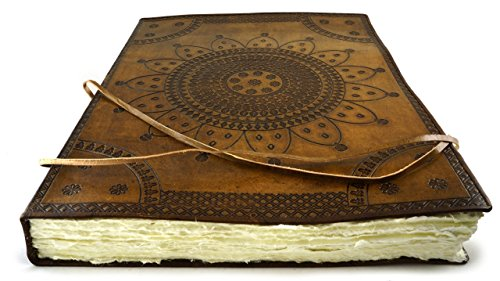 Largest Handmade Leather Artist Sketchbook Journal 18'' x 14'' Hand Torn Deckle Paper 200 Sheet by Terra Negra Studio