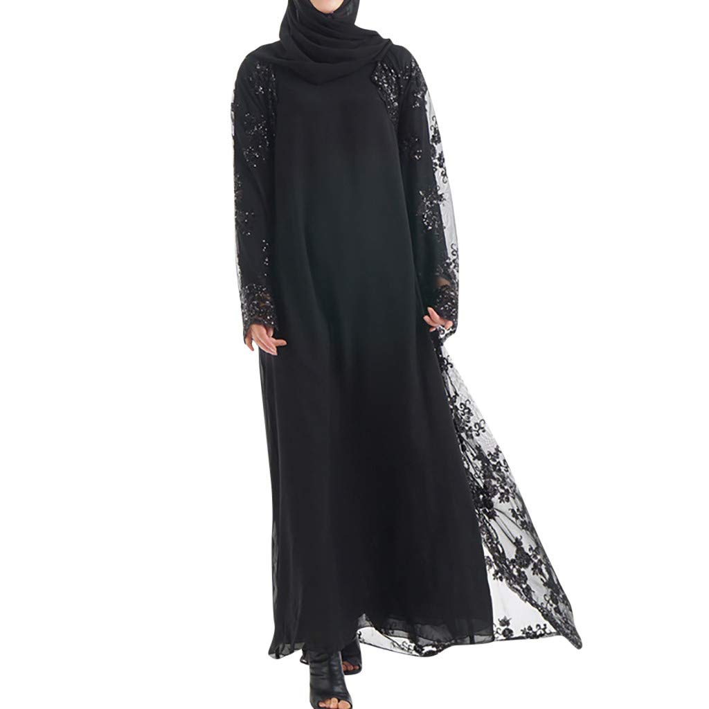Bibao Muslim Open Abaya Robe,Musheng Women Lace Sequin Maxi Kaftan Kimono for Holidays Cover up