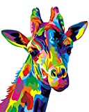 Paint by Number Kit,Diy Oil Painting Drawing Colourful Giraffe Canvas with Brushes Decor Decorations Gifts - 1620 inch Frameless