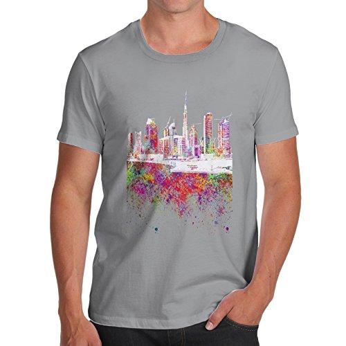 Men's Dubai Skyline Ink Splats 100% Cotton T-Shirt, Crew Neck, Comfortable and Soft Classic Tee with Unique Design Large Light Grey