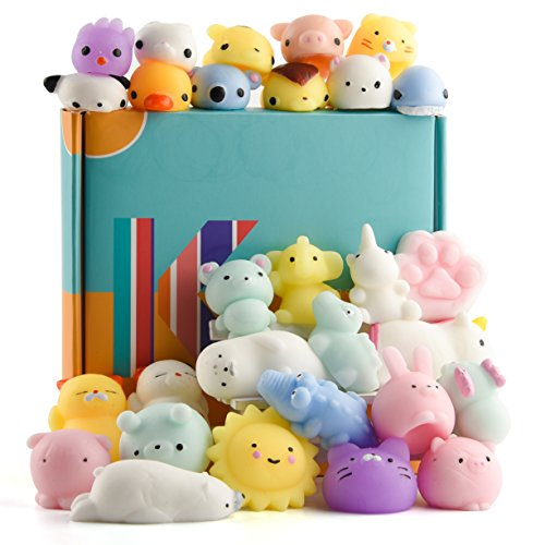 KUUQA 30 PCS Kawaii Mochi Squishy Toys Squishies Animal Cat Panda Unicorn Mini Soft Squeeze Stress Relief Squishies Balls Toys Cute Birthday Party Favours Bags Gifts for Kids Adults