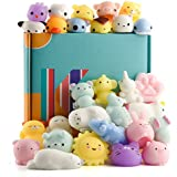 KUUQA 30 PCS Kawaii Mochi Squishy Toys Squishies Animal Cat Panda Unicorn Mini Soft Squeeze Stress Relief Squishies Balls Toys Cute Birthday Party Favours Bags Gifts Kids Adults
