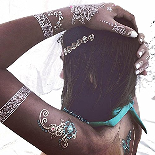 Henna Tattoo Stencil / Temporary Tattoo Temples Set of 8 Sheets,Indian Arabian Tattoo Reusable Stickers Stencils Body Art Designs for Hands (Vintage Collection) by Diva Woo (Image #1)